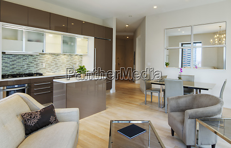 kitchen dining and living room in