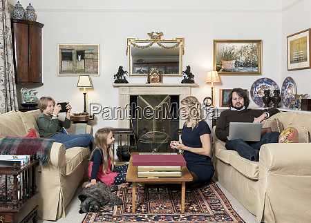 caucasian family in livingroom