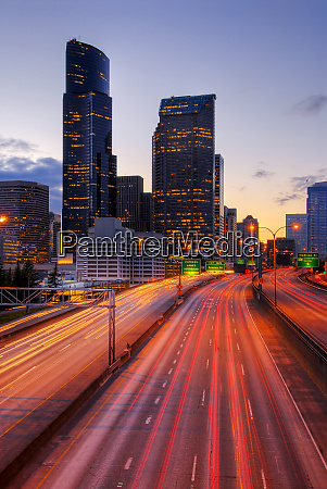 long exposure view of traffic driving