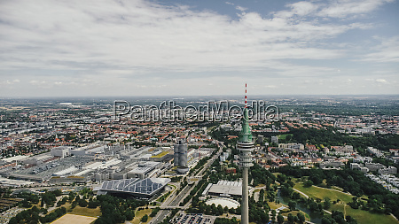 drone point of view sunny munich