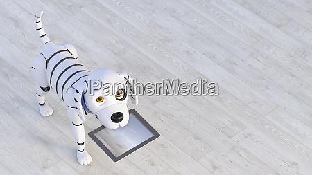 portrait of robot dog holding tablet