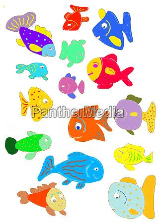 kindermalerei verschiedener bunter fische