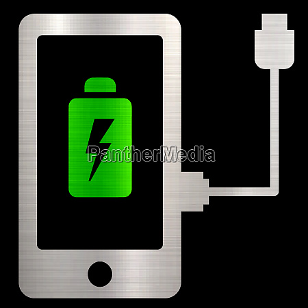 batterie ladegeraet handy energiegeraet metallische illustration