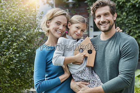 portrait of happy family in front