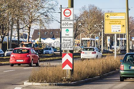 germany fellbach low emission zone sign