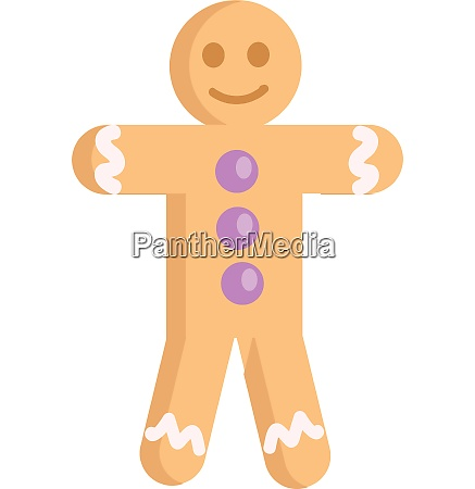 gingerbread man smiling with purple buttons