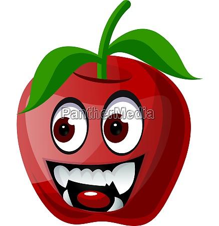red apple with vampire teeth illustration