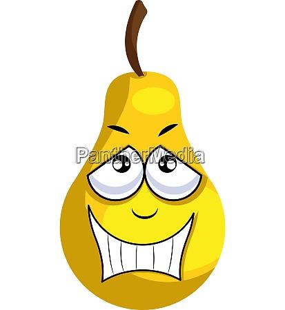 yellow apple smiling illustration vector on