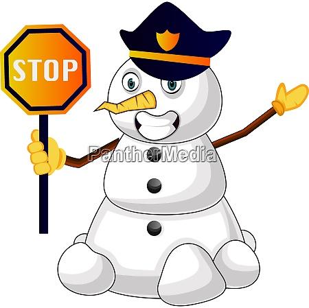 police snowman illustration vector on white