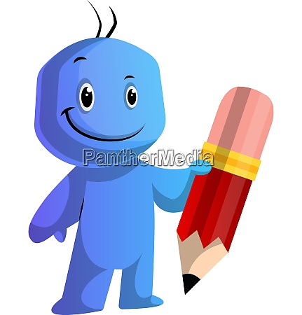 blue cartoon caracter holding a big