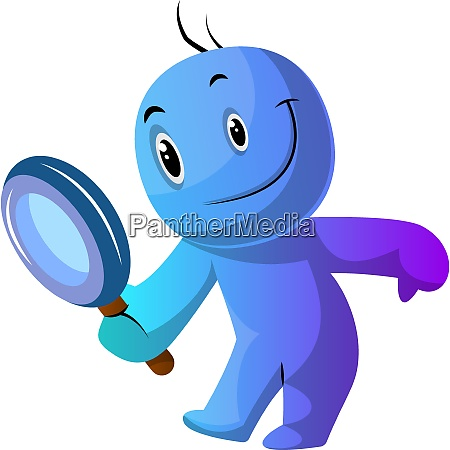 blue cartoon caracter holding magnifying glass