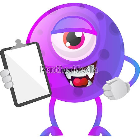 purple monster with a notepad illustration