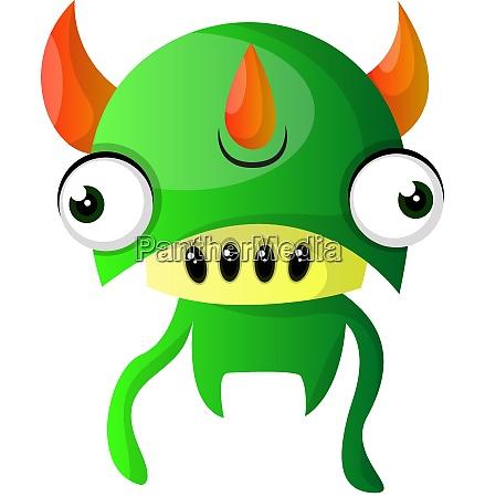 green monster with triple horns illustration