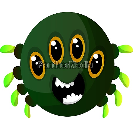 green monster with four eyes illustration