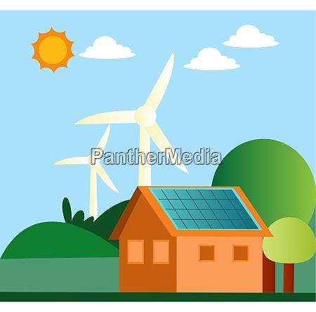 illustration of windmill and solar panels