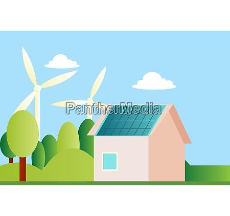 ilustration of a sustainable house illustration
