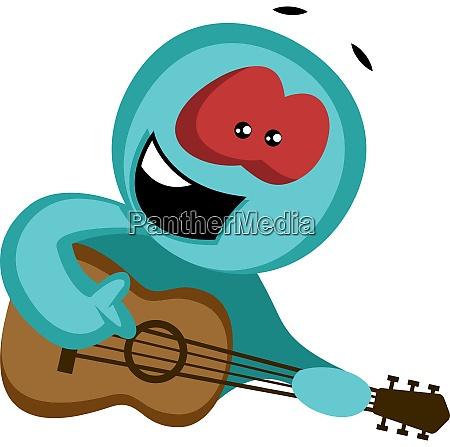 green character serenading to his girl