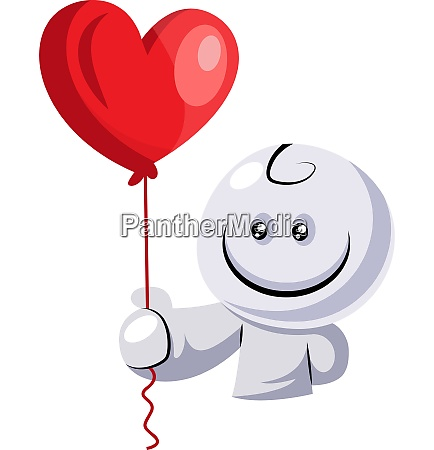 white character holding red balloon illustration