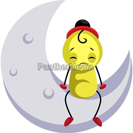 sad yellow creature sitting on the