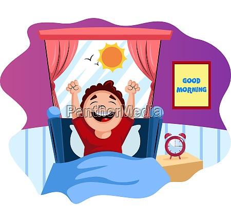 boy woke up happy illustration vector
