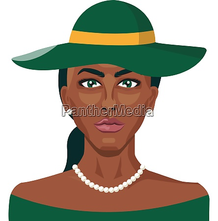 african girl wearing green hat illustration
