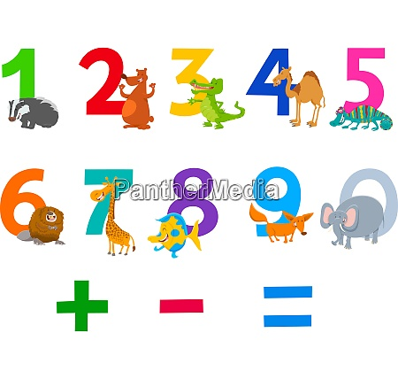 educational numbers set with animals