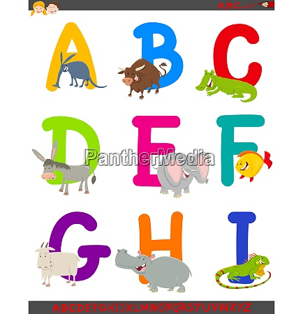 cartoon alphabet mit tierfiguren