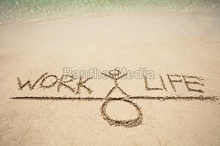 work and life balance konzept auf
