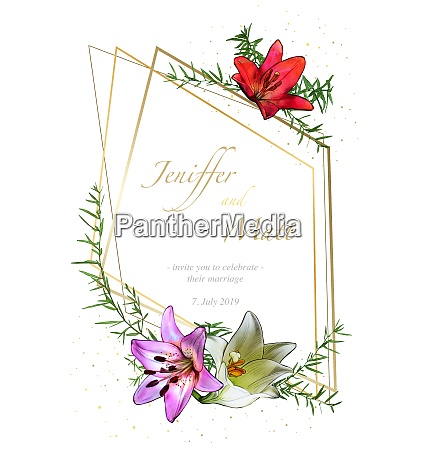 floral wedding invitation card with watercolor