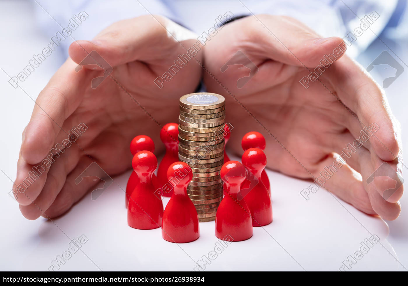 hands, protecting, the, coin, stack, and - 26938934