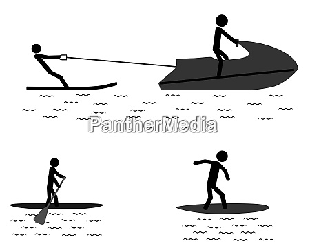 piktogramm sportliche aktivitaeten im wasser