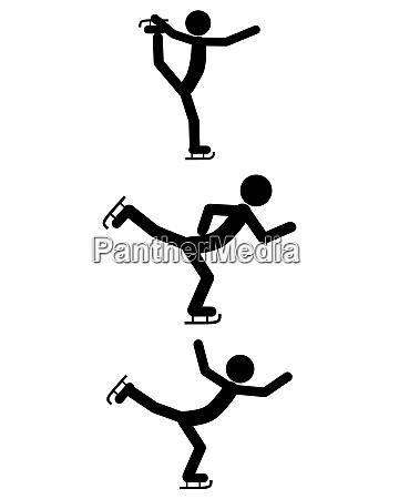 piktogramm schlittschuhlauf im winter