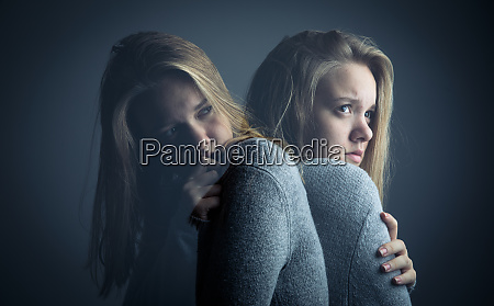 young woman suffering from a severe