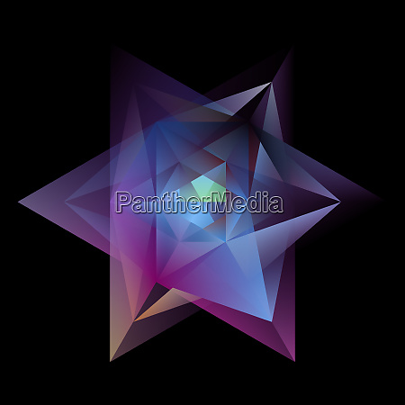 abstract glowing multicolor hexagram isolated on
