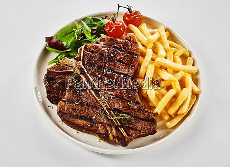 grilled t bone steak with french