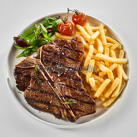 tasty grilled t bone steak with