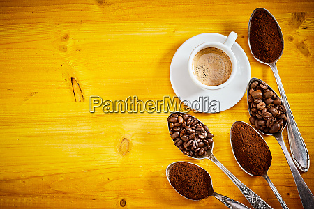 assorted coffee beans and grounds with
