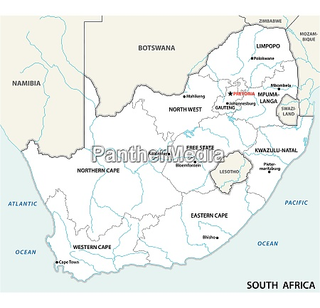 south africa administrative and political vector