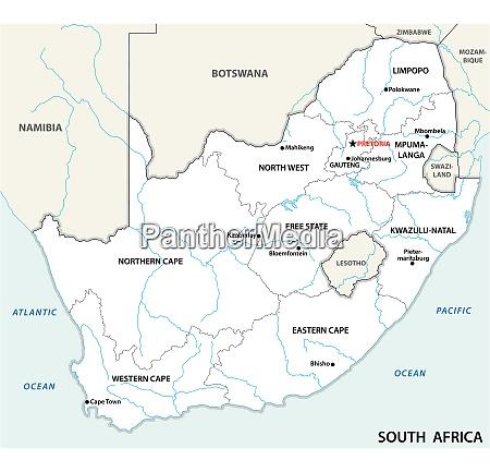suedafrika administrative und politische vektorkarte