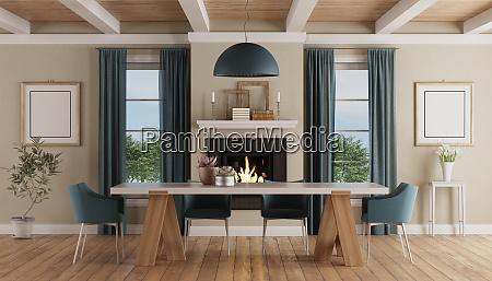 moderner esstisch in einem klassischen wohn