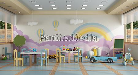 kindergartenklasse ohne kinder 3d rendering