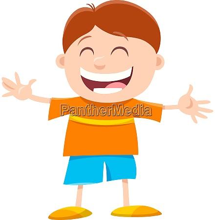 happy little boy cartoon character