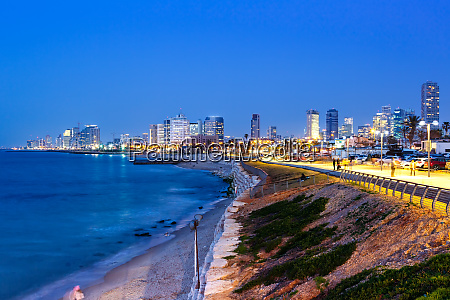 tel aviv skyline israel blue hour