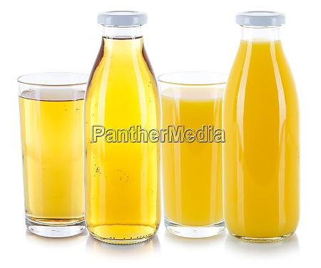apfel und orangensaft getraenke frische glasflasche