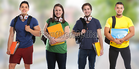group of students study education town