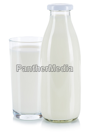 fresh milk glass and bottle isolated