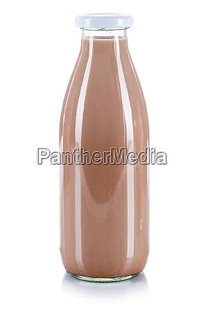 frische schokolade getraenk milchflasche isoliert auf