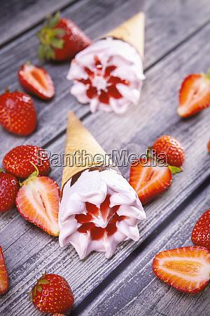 ice cream cones with strawberry
