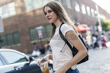young woman exploring new york city