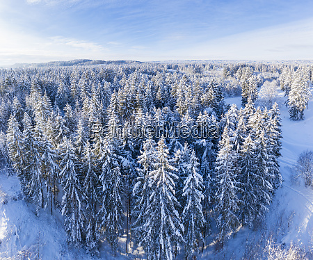 germany bavaria aerial view over snowy